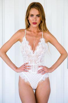 White Sheer Lace Halter Bodysuit
