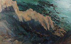 """Monhegan Bluffs II"", Deborah Brown, 1986-1987, oil on canvas, private collection."
