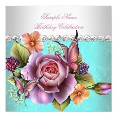 Pretty Teal Pink Roses Butterfly Birthday Party Personalized Invites
