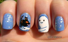 Snow Golem and fire wolf pup nails! (x post from r/RedditLaqueristas) - Imgur
