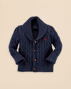 Ralph Lauren Childrenswear Infant Boys' Cotton Shawl Collar Cardigan Sweater - Sizes 9-24 Months | Bloomingdale's