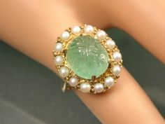 GOOD-VINTAGE-1940S-GOLD-PEARL-CARVED-TOURMALINE-TUTTI-FRUTTI-OR-MUGHAL-RING