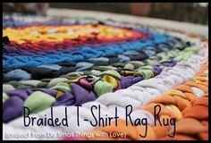 How to make a t-shirt rag rug. This looks great!