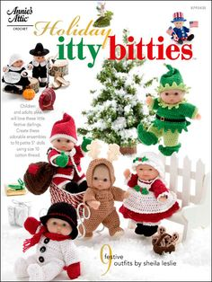 Holiday Itty Bitties: DIVDIVFeaturing nine, easy to crochet patterns for dolls, this holiday craft resource contains detailed patterns and stitching instructions. The fine detail of these dolls will delight crafters and holiday guests alike. Baby Clothes Patterns, Baby Doll Clothes, Crochet Doll Clothes, Doll Patterns, Baby Dolls, Clothing Patterns, Christmas Crochet Patterns, Holiday Crochet, Crochet Magazine