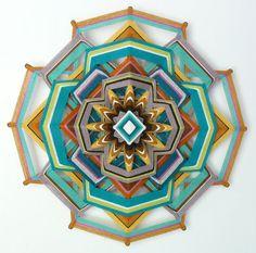 Heart of Gold, 18 inch, 12-sided yarn mandala, by custom order