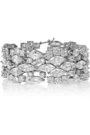 Kenneth Jay LaneRhodium-plated cubic zirconia bracelet