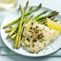 Baked Cod Piccata with Asparagus Recipe