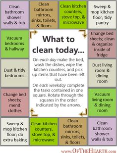 "Rotating Daily Cleaning Schedule.  Also has a monthly ""spring cleaning"" schedule."