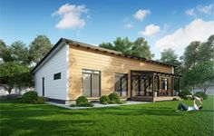 Pino is an urban home that takes its architectural cues from notions of simplicity and clarity. Log Home Kits, Cabin Kits, Organic Living, Cottage Design, Modern Buildings, Large Windows, Log Homes, Building A House, Beautiful Homes