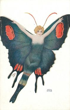 girl in black red, head turned to right shoulder - TuckDB Postcards Art And Illustration, Butterfly Illustration, Vintage Postcards, Vintage Images, Vintage Art, Vintage Roses, Butterfly Fairy, Vintage Fairies, Desenho Tattoo