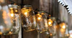 DIY: Mason Jar Lights Industrial lightings are in trend now that they are featured in numerous home decor magazines. Check out this real Mason Jar. Pot Mason Diy, Mason Jar Crafts, Mason Jar Lamp, Pots Mason, Outdoor Christmas, Christmas Diy, Christmas Decorations, Garden Decorations, Christmas Lights