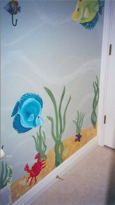 underwater themed bathroom for kids | Kids Fish Bathroom, Handpainted bathroom with a underwater fish theme ...