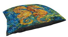 Thumbprintz Indoor/Outdoor Large Breed Pet Bed, Mosaic Seahorse, Multi Colored *** You can get additional details at the image link.