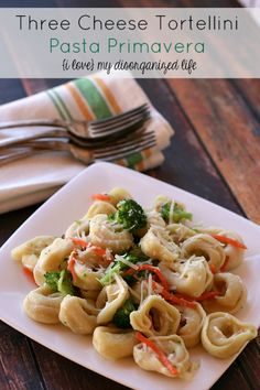 Three Cheese Tortellini Pasta Primavera is made with three different cheeses, fresh veggies and ready in 30 min! http://www.ilovemydisorganizedlife.com/2014/07/three-cheese-tortellini-pasta-primavera/?utm_campaign=coschedule&utm_source=pinterest&utm_medium=Rachel%40ILove%20MyDisorganizedLife%20(%7Bi%20love%7D%20my%20disorganized%20life)&utm_content=Three%20Cheese%20Tortellini%20Pasta%20Primavera