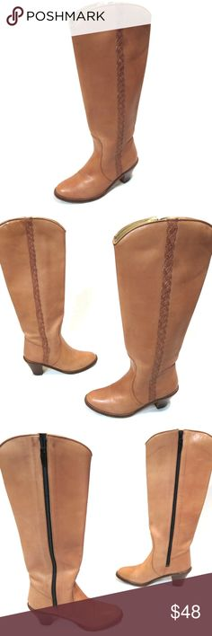 """Beige Leather Braid Boots 5 Knee High Zip Brazil Western Style     Braid Trim along Outside Shaft     Inside Zipper  9 1/2"""" / 24 cm Length - Toe to Heel outside 3 3/4"""" / 9.5 cm Width at Ball of Foot 2 3/4"""" / 7.0 cm Heel      All items from a smoke and pet free environment     Send me a message if you have any questions Made in Brazil Shoes Heeled Boots"""