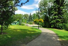 Prince's Island Park - downtown Calgary, AB. Features Seasonal: Flower gardens, Water fountains