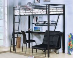 Acme Furniture - Senon Twin Workstation Loft Bed in Silver/Black - 37275