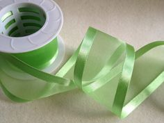 Green Organza Satin Ribbon 1 1/2 in by BoutousCreations on Etsy, $4.00