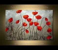 ORIGINAL Red Blooms texture palette knife floral por Artcoast