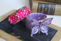 DIY, repurposed, bracelet tutorial.  Braceletes and rings made out of Starbucks' cup sleeves (cardboard).  Covered in ribbon, fabric, and duct tape.