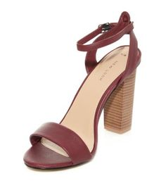 Vegan Leather Dark Red Strap Block Heel Sandals £19.99