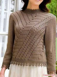 Free Knitting Patterns - Pullover with chart only Crochet Cardigan Pattern Free Women, Crochet Jacket, Knit Crochet, Knitting Paterns, Knit Patterns, Free Knitting, Creations, Sweaters For Women, Tops