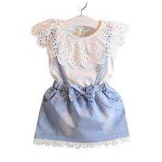 Arianna Frill Denim Dress Set