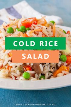 Cold Rice Salad is perfect for hot summer days - it's refreshing crunchy and very simple to prepare. Plus this recipe is great to make in bult for barbecues and parties. Healthy Rice Recipes, Rice Salad Recipes, Healthy Dishes, Tasty Dishes, Lunch Recipes, Cooking Recipes, Summer Recipes, Healthy Meals, Healthy Eating
