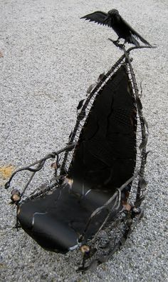 Gothic Rocking Chair Hand Forged by by FoggyMountainForge on Etsy.