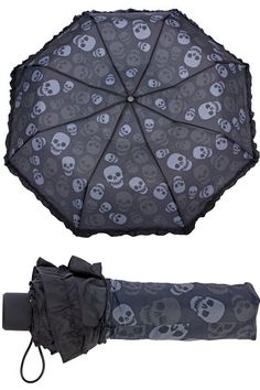 Skulls Compact Umbrella by Sourpuss | Gothic Gifts | Skulls