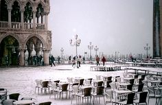 Piazzetta San Marco In Venice In The Snow Print by Michael Henderson