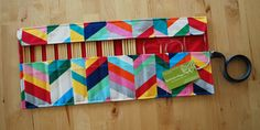 Roll Up Double Pointed Needle DPN & Circular Needle Organizer / Case / Holder - Rainbow Chevron Fabric with Pink Lining Knitting Needle Storage, Knitting Needles, Rainbow Chevron, Chevron Fabric, Circular Needles, Easy Sewing Projects, Quilts, Unique Jewelry, Handmade Gifts