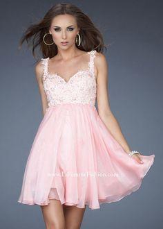 Short Beaded Lace Chiffon La Femme 17446 Pink Cocktail Dress