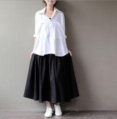 Women black linen skirt long skirt linen maxi skirt by seasons2000, $49.00
