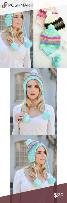 Bright mint Pom beanie Super cute knit light pink pom beanie  Also available in pink   100% acrylic Accessories Hats
