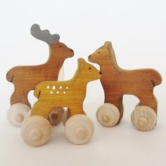 Wooden Deer Family Push Toy Set from Tributary Goods  Even your littles need to be entertained during Spring Break!  Don't forget these animal pals!