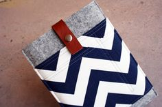 Blue & White Chevron iPad Mini sleeve case with brown by HenrysBox, $35.99