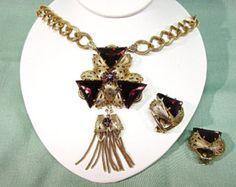 Retro Purple Triangle Rhinestone Filigree Gold Mesh Tassle Statement  Necklace and Earrings