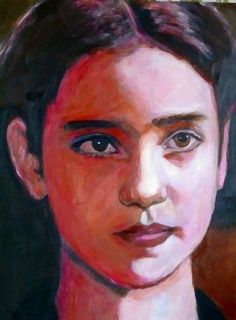 Young Jennifer Connolly, acrylic on paper