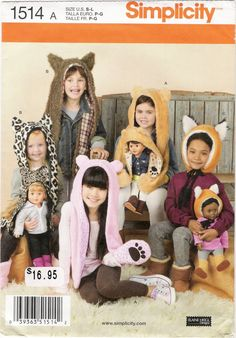 """Simplicity 1514 Child's Animal Hats and Matching 18"""" Doll Hats"""