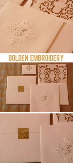 Olga Aguilar Gold Embroidery Embossed Wedding Invitation