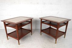 Unique Mid-Century Modern Walnut and Marble Side Tables | From a unique collection of antique and modern side tables at https://www.1stdibs.com/furniture/tables/side-tables/