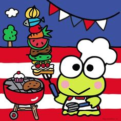 Sanrio Co. is a Japanese company that designs, licenses and produces products focusing on the kawaii segment of Japanese popular culture. Happy Labor Day, Happy 4 Of July, 4th Of July, Keroppi Wallpaper, Dream Symbols, Hello Kitty Images, Favorite Cartoon Character, Japanese Cartoon, Cartoon Characters