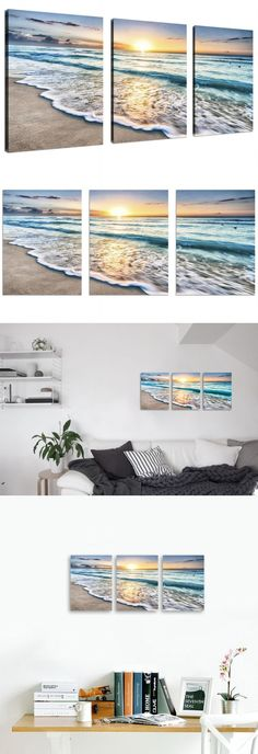 Posters and Prints 41511: New Wall Art Beach Canvas Home Decor 3 Panel Sand Sunset Ocean Picture Gift -> BUY IT NOW ONLY: $36.29 on eBay!