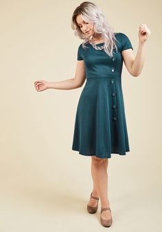 At-Home Entertainer A-Line Dress in Teal | ModCloth