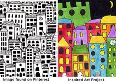 Dibujo de edificios. Primero hechos a lápiz y repasados con rotulador. Luego coloreados con acuarela.