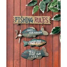 """Fishing Rules"" Sign - OrientalTrading.com"