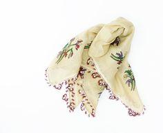 Vintage Turkish Scarf - Never Used, Cotton, Mustard, Shuttle Lace, Oya, Yemeni, Neckwarmer, Lacework, Floral $20