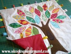 Tree Applique Taggie Blanket - backing detail by SkooksPlayground, via Flickr