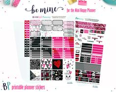 Be Mine Weekly Kit// Mini Happy Planner // Planner Stickers // Printable Planner Stickers // Cut Lines // Planner Stickers Printable by BEaYOUtifulPlanning on Etsy